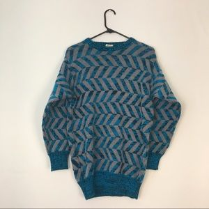 Vintage Teal Grey Black Knit Pattern Sweater M